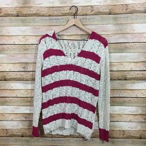 NWT Pinkblush Striped Knit Hooded Sweater - Large